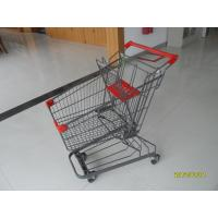Buy cheap Zinc Plated Low Carbon Steel 80L Supermarket Shopping Trolley With Bottom Tray product