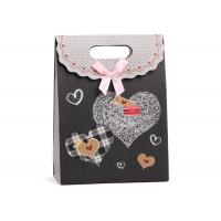 China Matte Chocolate Colored Paper Bags With Handles , Velcro Stand Up Bag With Bow on sale