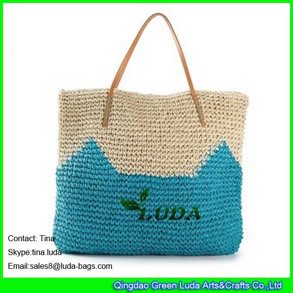 LUDA cute pattern beach bag crochetting paper straw beach ...