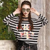 Buy cheap Women's Fashion New Latest Stripe Design High Quality Long Sleeve T Shirt with Printed product