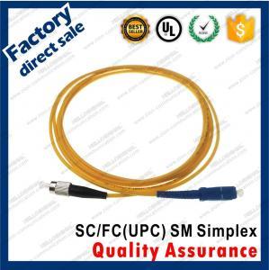 Buy cheap sc-fc/upc optic fiber patch cords metal connectors simplex yellow pvc lszh sheath jacket product