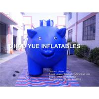 China Blue Color Pig Replica Inflatable Advertising Products Cartoon Pig Shaped on sale