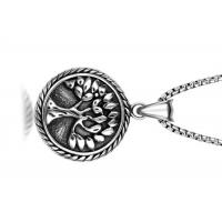 Buy cheap Vintage Stainless Steel Pendant Necklace , Peaceful Tree Pattern Round Pendant Necklace from Wholesalers