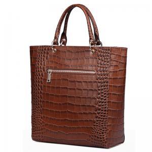 Buy cheap Vintage Crocodile PU leather Handbags for Lady Fashion Shoulder Handbag Tan Color Tote Bag with Zip Pocket Bucket Bags product
