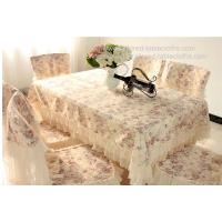 China Classic lace floral tablecloth and chair cover set, rose design lace table cloth, on sale
