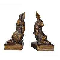 Buy cheap Pushing Bunny Home Decor Bookends Brass Rabbit Figurine Standing On Book Base product