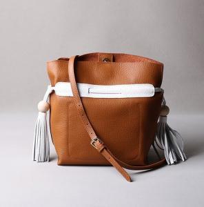 Buy cheap 2016 summer new Korean fashion spell color tassel leather handbag drawstring shoulder bag packet header layer of skin product