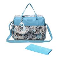 Fashionable Diaper Bags Blue Floral Top Handle With Diaper Pad All Over Print Of Bagbackpacks