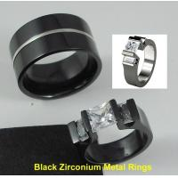 China Tagor Jewelry Made Customize Shiny Brushed Wedding Engagement Black Zirconium Rings on sale