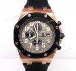 Buy cheap Top Grade Audemars Piguet Royal Oak Clone Rose Gold & Black Rubber Mens Watch product