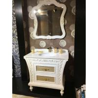 China PVC Golden Painting Embossing Floor Standing Bathroom Cabinet With Mirror on sale