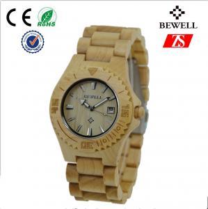 Custom Round Wooden Wrist Watch , Japan Movt Men Wood Watch