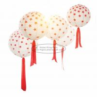 """Buy cheap 8 10 12"""" Red Round Paper Lanterns Lights With Tassel , Star Pattern product"""
