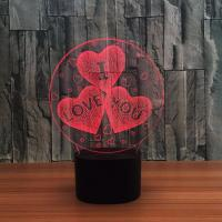 Buy cheap Sweet Heart Indoor Acrylic 3D LED  Night  Light for Gift , Decoration LED Light in many colors product