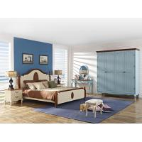 Buy cheap Crown of ancient Rome Rubber headboard bed in natural wood and column with Theropods legs open door wardrobe cabinet product