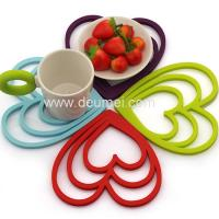 Buy cheap Deumei Eco-friendly Heart Shape Silicone Trivet Mat/Customized 3 Heart Silicone Placemat product