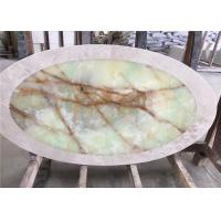 Buy cheap Oval Shaped Stone Table Tops , Light Green Onyx Table Top For Coffee Tea Table product
