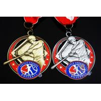 Buy cheap Baseball 3D Effect Metal Sports Award Medals Antique Gold / Silver Plating product