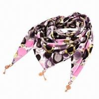 Buy cheap Pendant Printing Triangle-shaped Satin Scarf, Customized Designs and Shapes are Accepted  product