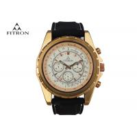 Buy cheap Multifunction Mens Leather Strap Watches , Quartz Black And Gold Watch Customizable product
