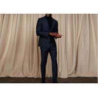 China Tailored Blue Pinstripe 3 Piece Suit Woven Jacquard Fabric Fit Spring / Autumn on sale