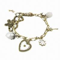 Buy cheap Key, Multi Heart, Flower and Butterfly Charm Vintage Bracelet with Ribbon, Comes in Various Colors product
