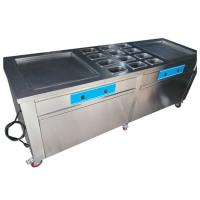 China Stainless Steel Thailand Fried Ice Cream Machine With Double Square Pans on sale