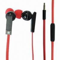 Buy cheap New Handsfree 1.2m Flat Cable Earphones with 20Hz to 20kHz Frequency, 94dB SPL and 3.5mm Plug product
