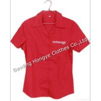 Buy cheap 100% Cotton Ladies Solid Color Short Sleeve Dress Shirt product