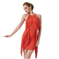 Claire 2016 Autumn Red Tassel O Neck Sleeveless Party Rayon HL Bandage Dress CD503