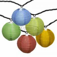 Buy cheap 3 inch chinese yellow purple Paper Lantern String Lights led 10 pcs battery operated product