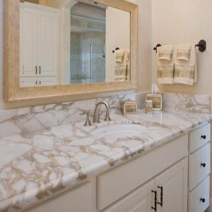 Buy cheap G682 Granite Natural Stone Countertops , Granite Bathroom Countertop With Single Ceramic Wash Basin product