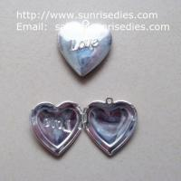 Buy cheap 1 inch brass heart photo locket pendant for diy necklace, copper photo locket product