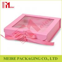Buy cheap Pink color folding gift box with clear window, magnet and ribbon clousre for baby girl clothing product