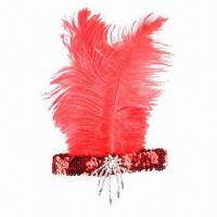 Buy cheap Ladies' Red Sequin Feather Headband, Roaring 20'S Charleston Flapper Costume from wholesalers