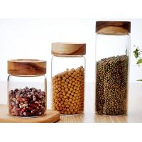 Buy cheap Clear Custom Glass Food Storage Jars For Beans With Wood Lid , Longlife product