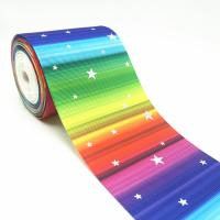 Buy cheap 3 inch 75mm good quality custom grosgrain sparkle rainbow colorful laser gold ribbon product
