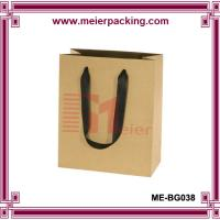 Buy cheap Europe Style Brown Kraft Paper Shopping Bag with Black Ribbon Handle ME-BG038 product