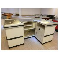 Buy cheap Retail White Supermarket Checkout Counter / Commercial Shop Counter Desk from Wholesalers