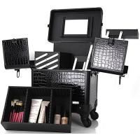 China Makeup Artist Carry Case With Tray PVC Cosmetic Train Trolley Makeup Box on sale