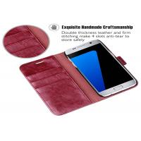 Buy cheap Wine Red PU Samsung Leather Case / Samsung Galaxy S7 Leather Folio Case product