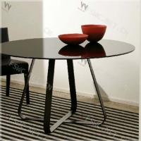 Buy cheap house modernity tempered glass top round dining table sets product