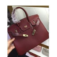 China hot sell 30cm 35cm high quality wine red ladies litchi leather handbags classic brand handbags L-RB1-15 on sale