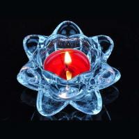 Buy cheap Blue transparent crystal lotus glass candle holder supplier product