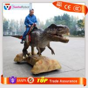 China Saddle Sitting&Wheels moving Type Artificial Animal Animatronic walking dinosaur rides Amusement Park Ride on sale