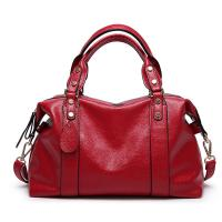 China Red Ladies Real Leather Handbags 38*29*13 Cm Adjustable Shoulder Strap on sale