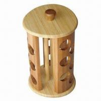 China Eco-friendly Rotating Bamboo Spice Rack, Suitable 18 Jars, Measures 19 x 19 x 33.6cm on sale
