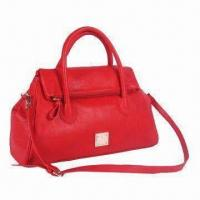 Synthetic Leather Handbag with Folded Top and Removable Shoulder Strap