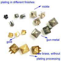 China Gold Pyramid Metal Studs for Leather Crafts; Long Leg Pronged Square Nailheads on sale