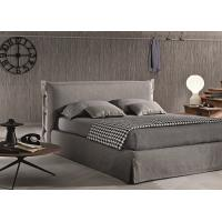 Buy cheap Contemporary Light Grey Upholstered Bed , Queen Platform Bed With Headboard product